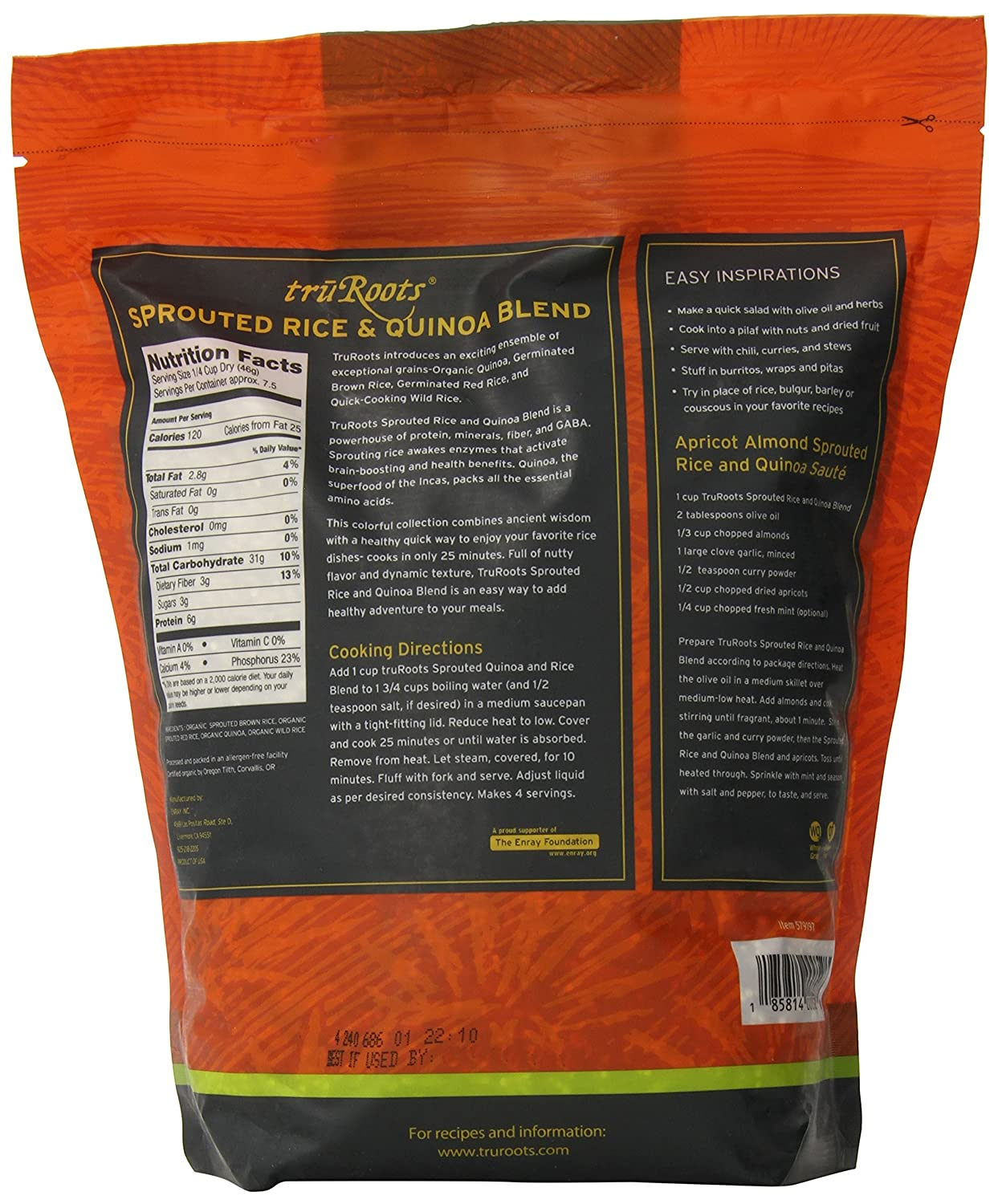 Amazon : Trurootsanic Sprouted Rice And Quinoa Blend Bag, 3 Lbs :  Grocery & Gourmet Food