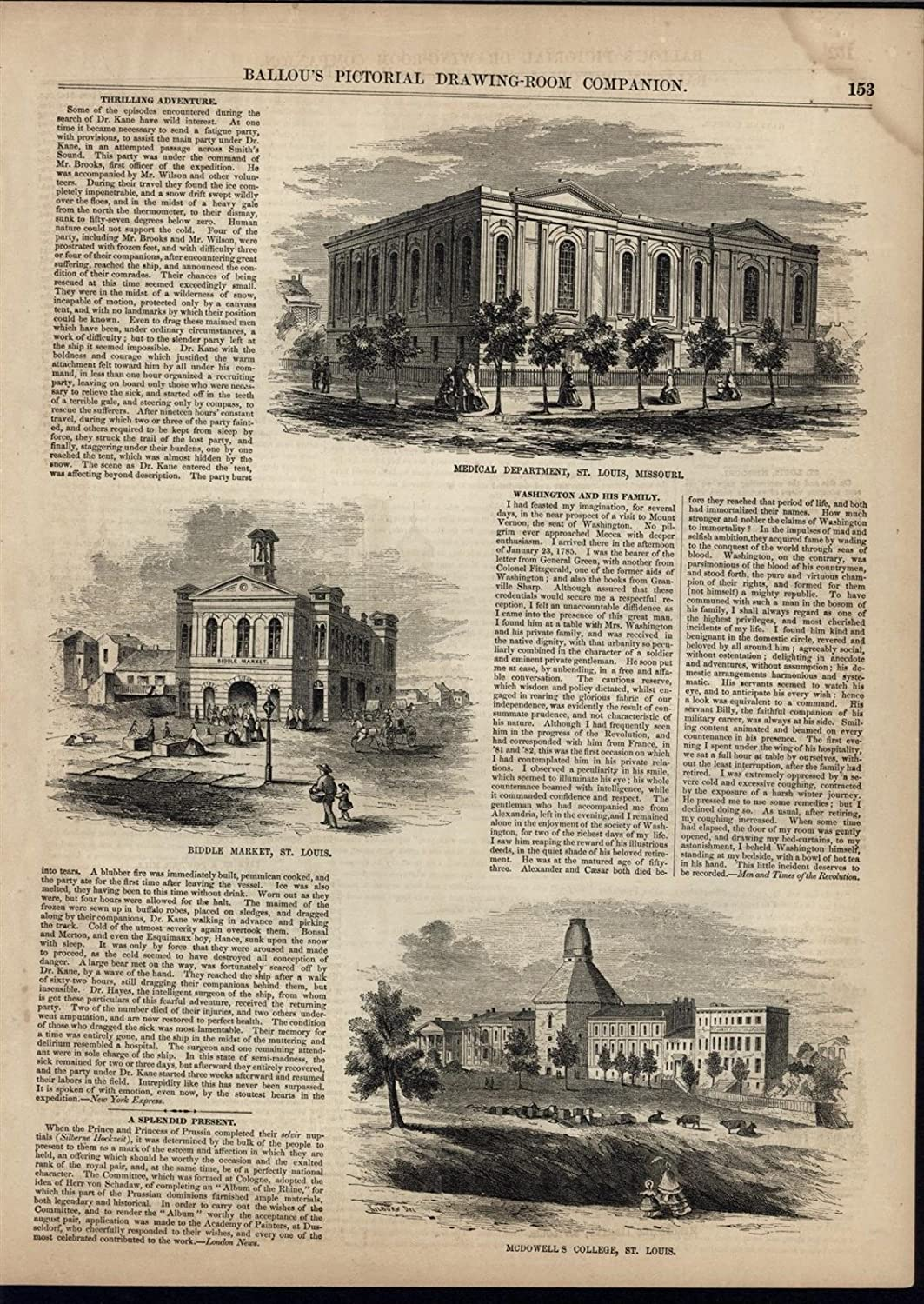 Amazon Com St Louis Medical Department Biddle Market College 1856 Antique Engraved Print Entertainment Collectibles