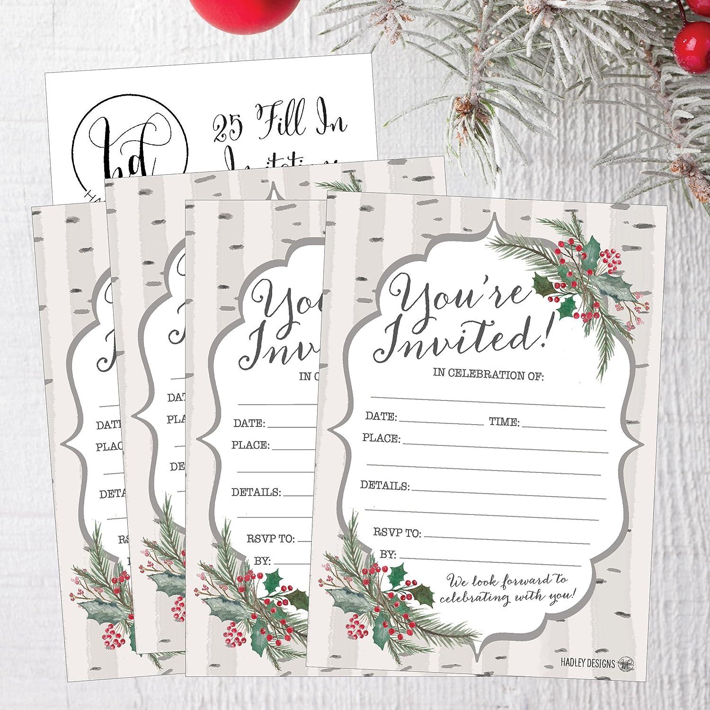 Amazon.com: 25 Woodland Christmas Holiday Invitations, Rustic Winter ...