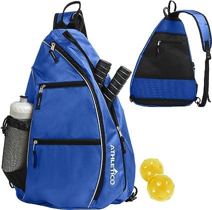 Sucipi Pickleball Bag Reversible Sling Bag for Pickleball Racketball Travel Tennis Bag Sport Sling Backpack for Men Women