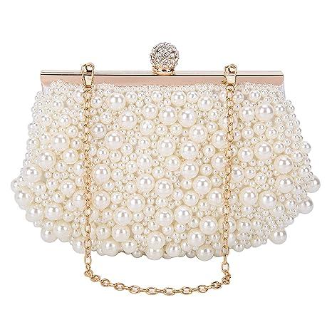 BAIGIO Bolso de Embrague de Perlas Elegante Señora Bolso de Noche Mujer Caja Dura Carteras Monedero