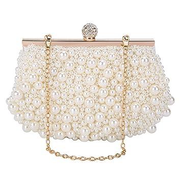 BAIGIO Bolso de Embrague de Perlas Elegante Señora Bolso de Noche Mujer Caja Dura Carteras Monedero para Fiesta Boda Novia,Blanco: Amazon.es: Equipaje