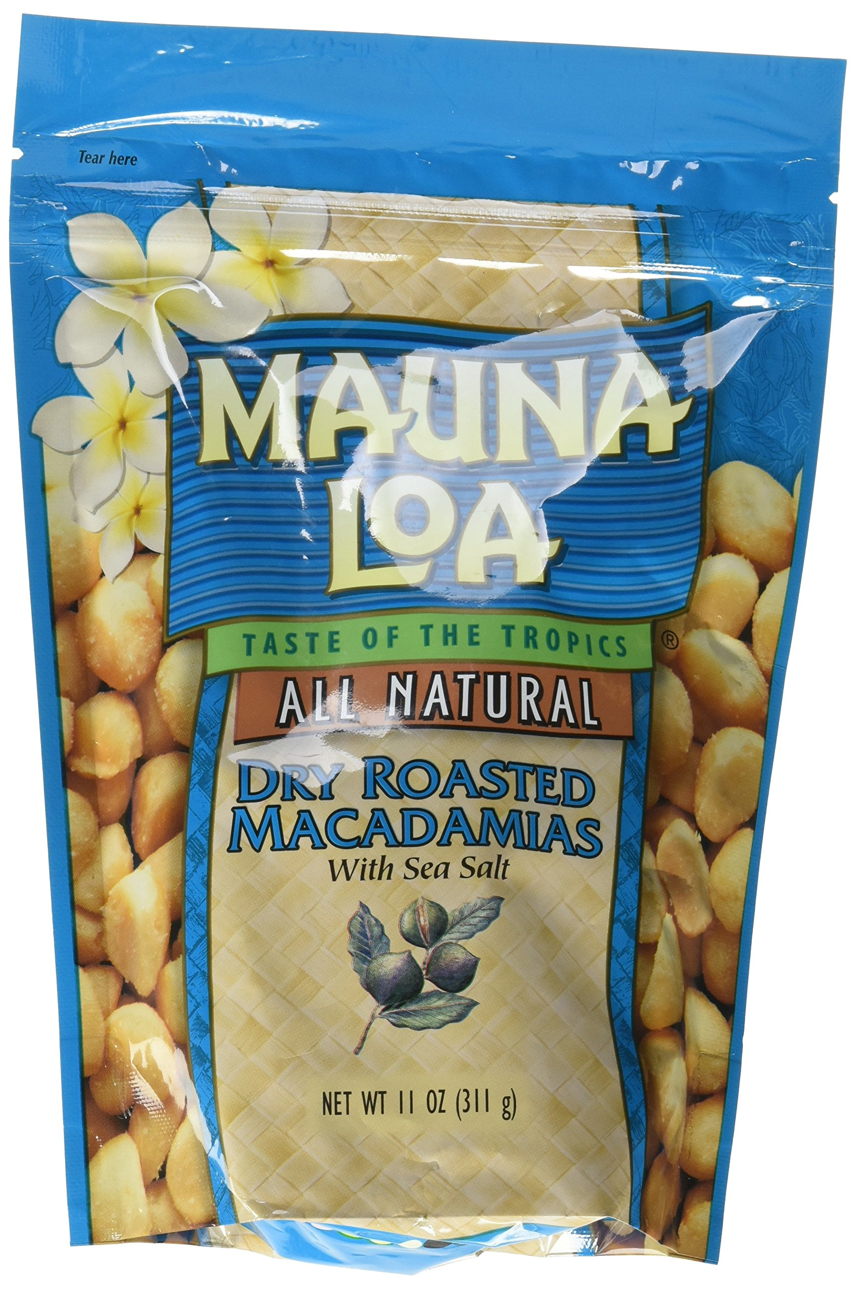 Mauna Loa Dry Roasted With Sea Salt Macadamia Nuts, 11-Ounce Package (Pack of 12)