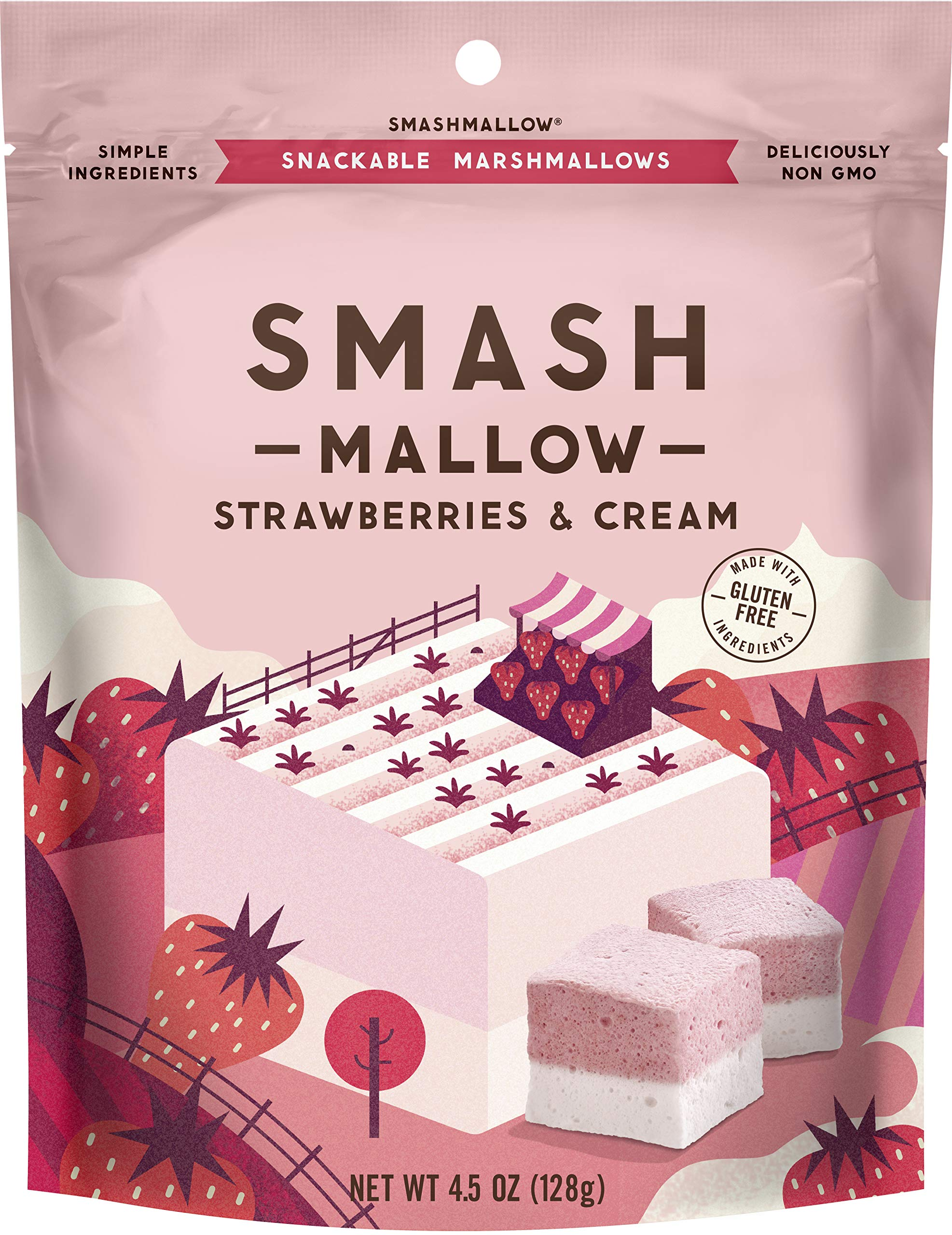 Strawberries & Cream by SMASHMALLOW | Snackable Marshmallows | Non-GMO | Organic Cane Sugar | 80 calories | (4.5 oz) by Smashmallow