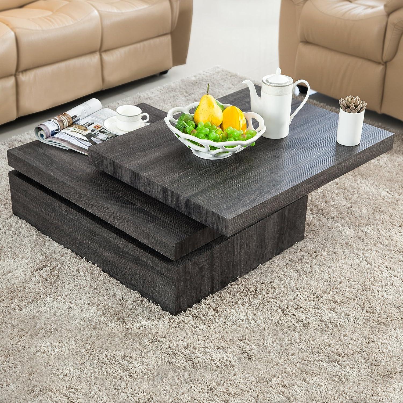 Amazon VIRREA Oak Square Rotating Wood Coffee Table with 3