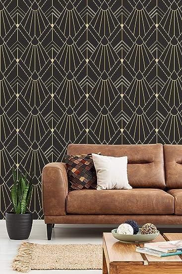 Art Deco Wallpaper Self Adhesive Wallpapers Art Deco Vintage Wallpaper Geometric Pattern Peel And Stick Mural Temporary Wallpaper Amazon Co Uk Diy Tools