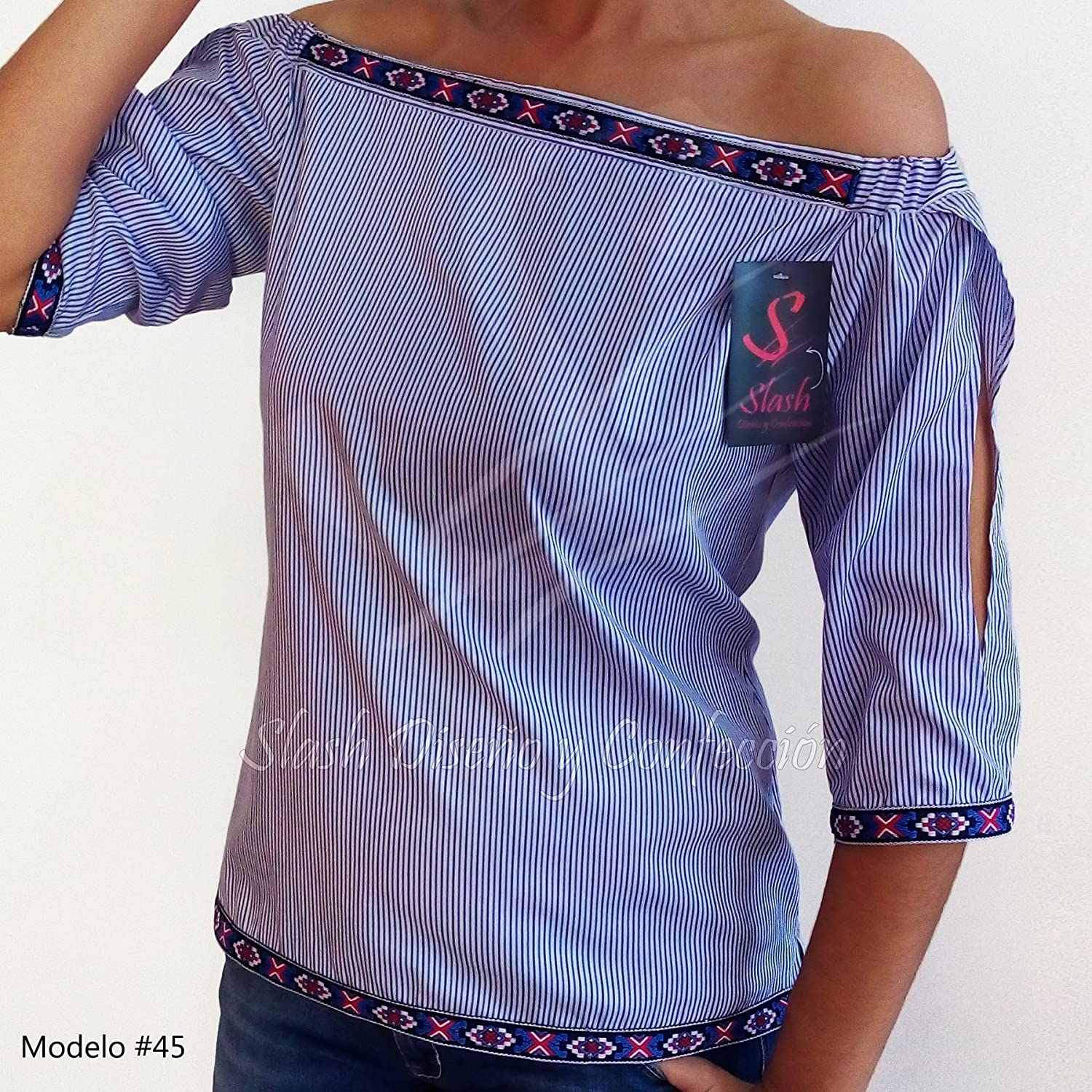 Ethnic Striped Blouse Open Sleeve 3/4