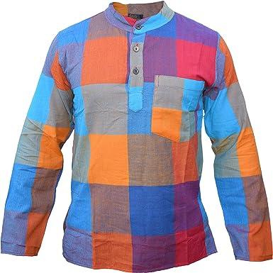 Gheri - Camisa de verano para hombre, diseño de patchwork, arco iris, sin cuello, manga completa: Amazon.es: Ropa y accesorios
