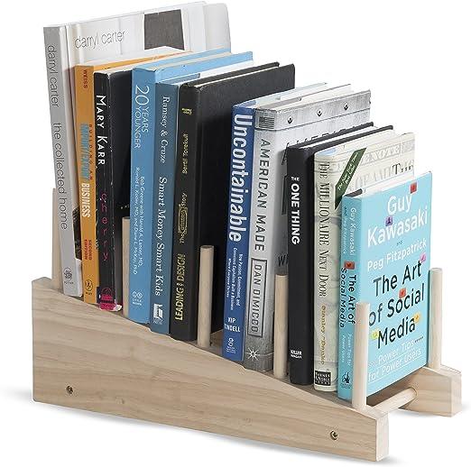 Brightmaison Wooden Book Holder Decorative Free Standing Bookend 4 Slot Magazine Mail File Rack Office Desktop Organizer Décor Display Natural Unfinish Wood Home Kitchen