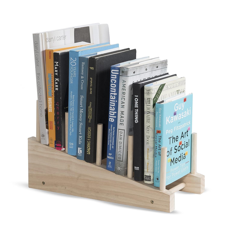 brightmaison Free-Standing Wooden Book Holder 4-Slot Magazine Organizer Rack (Natural)