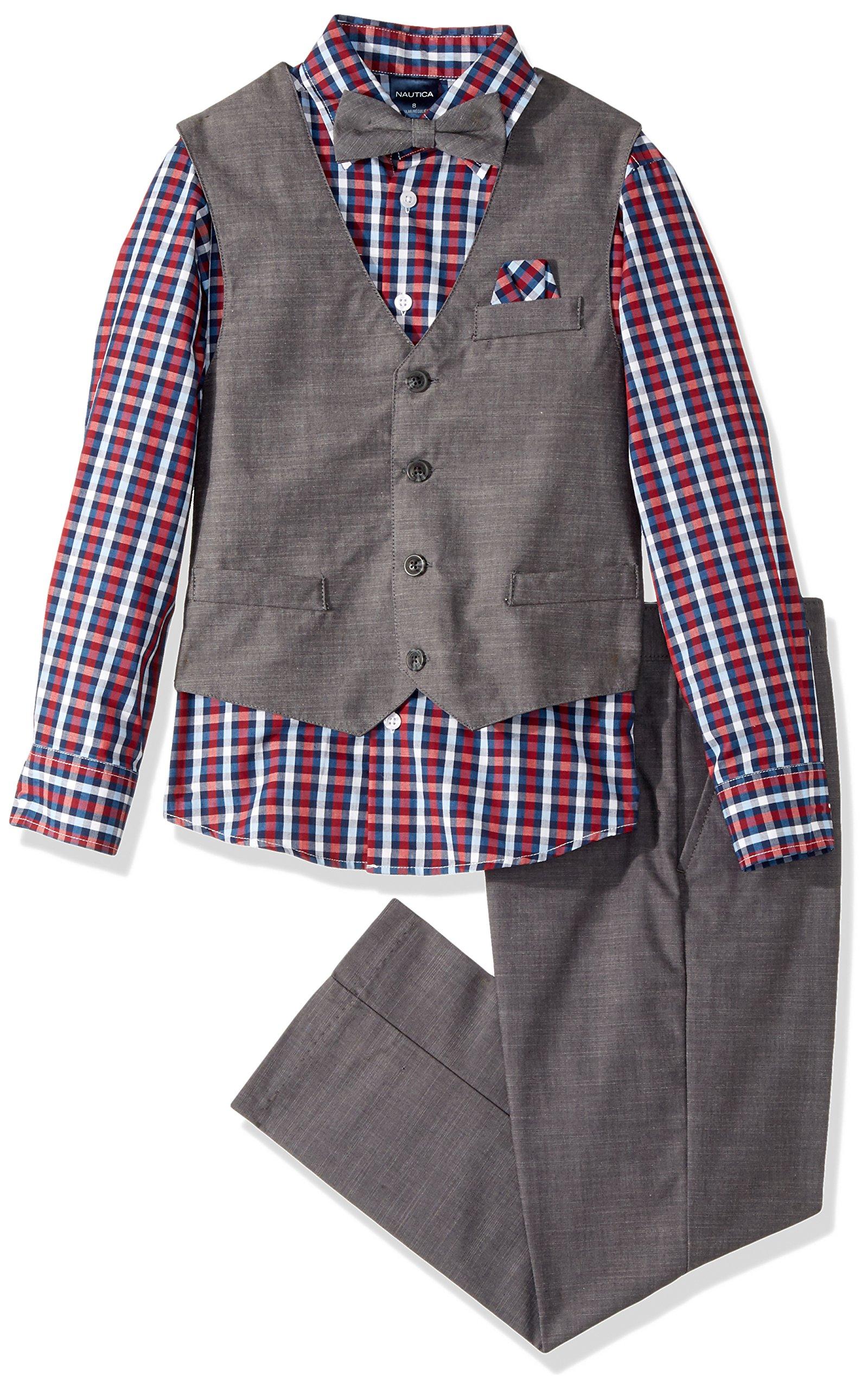 Nautica Boys' 4-Piece Vest Set with Dress Shirt, Bow Tie, Vest, and Pants, Dark Gray, 4T