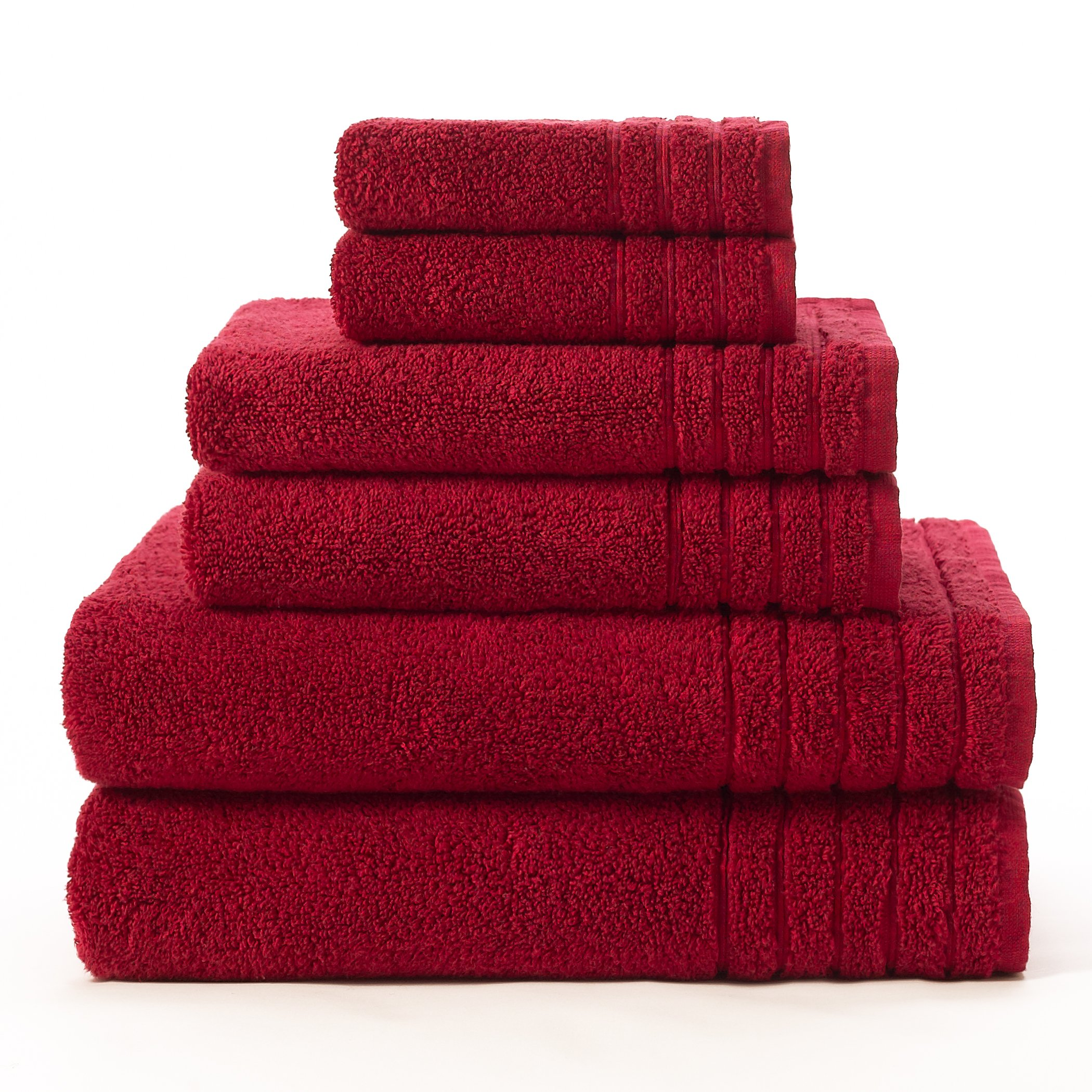 Cotton Craft - Super Zero Twist 6 Piece Towel Set - Cassis - 7 Star Hotel Collection Beyond Luxury Softer Than A Cloud, Contains 2 Oversized Bath Towels 30x54, 2 Hand Towels 16x30, 2 Wash Cloths 13x13
