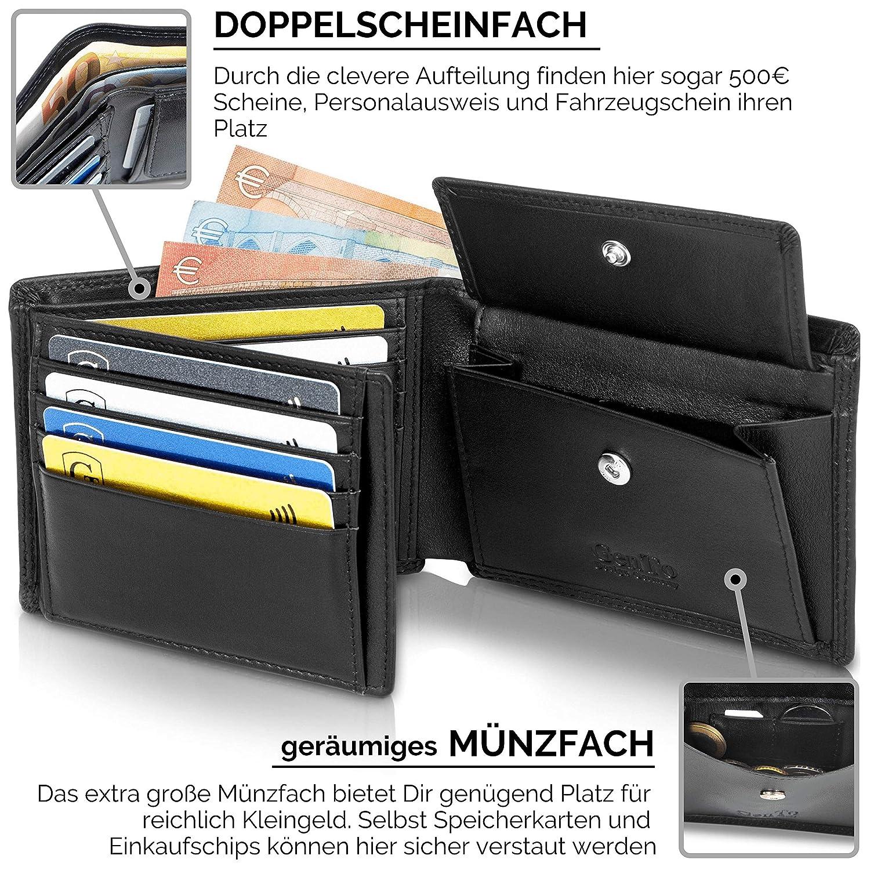 93851a2f91056 GenTo® Herren Geldbörse Manhattan Nappa-Leder-Optik mit Münzfach TÜV  geprüfter RFID