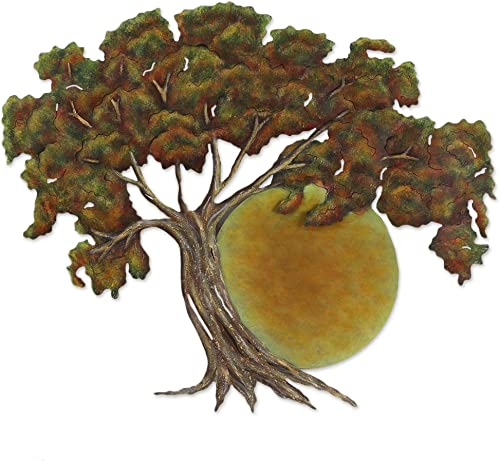 NOVICA Handmade Painted Steel Cutout Nature Tree Theme Wall Art
