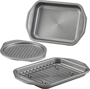 Circulon 47986 Total Bakeware Nonstick Toaster Oven & Personal Pizza Pan Baking Set, 4-Piece