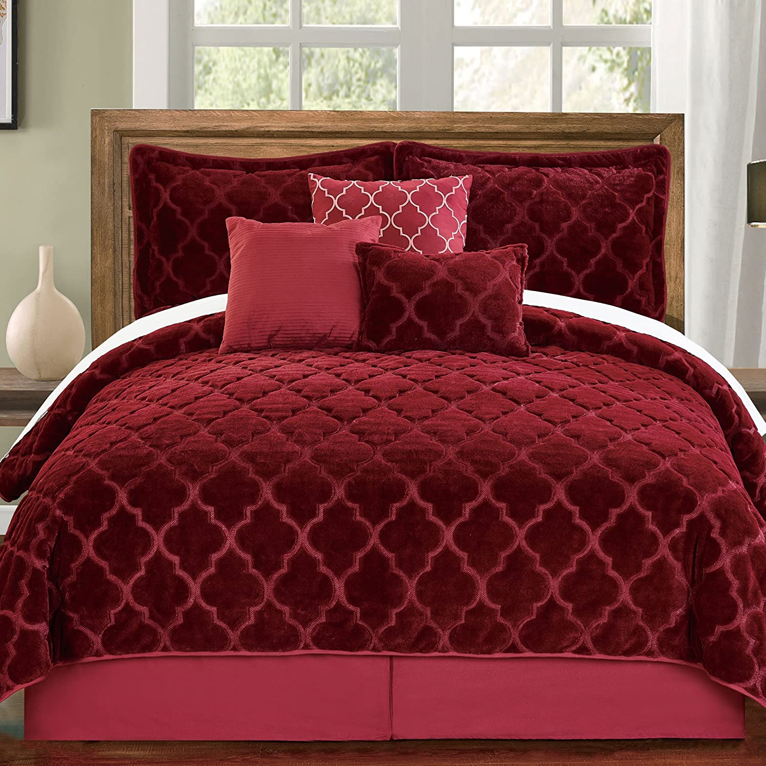 Animer and price revision Serenta Faux Fur Ogee Embroidery 7 Quilts Q Piece Bedspread Set Seattle Mall
