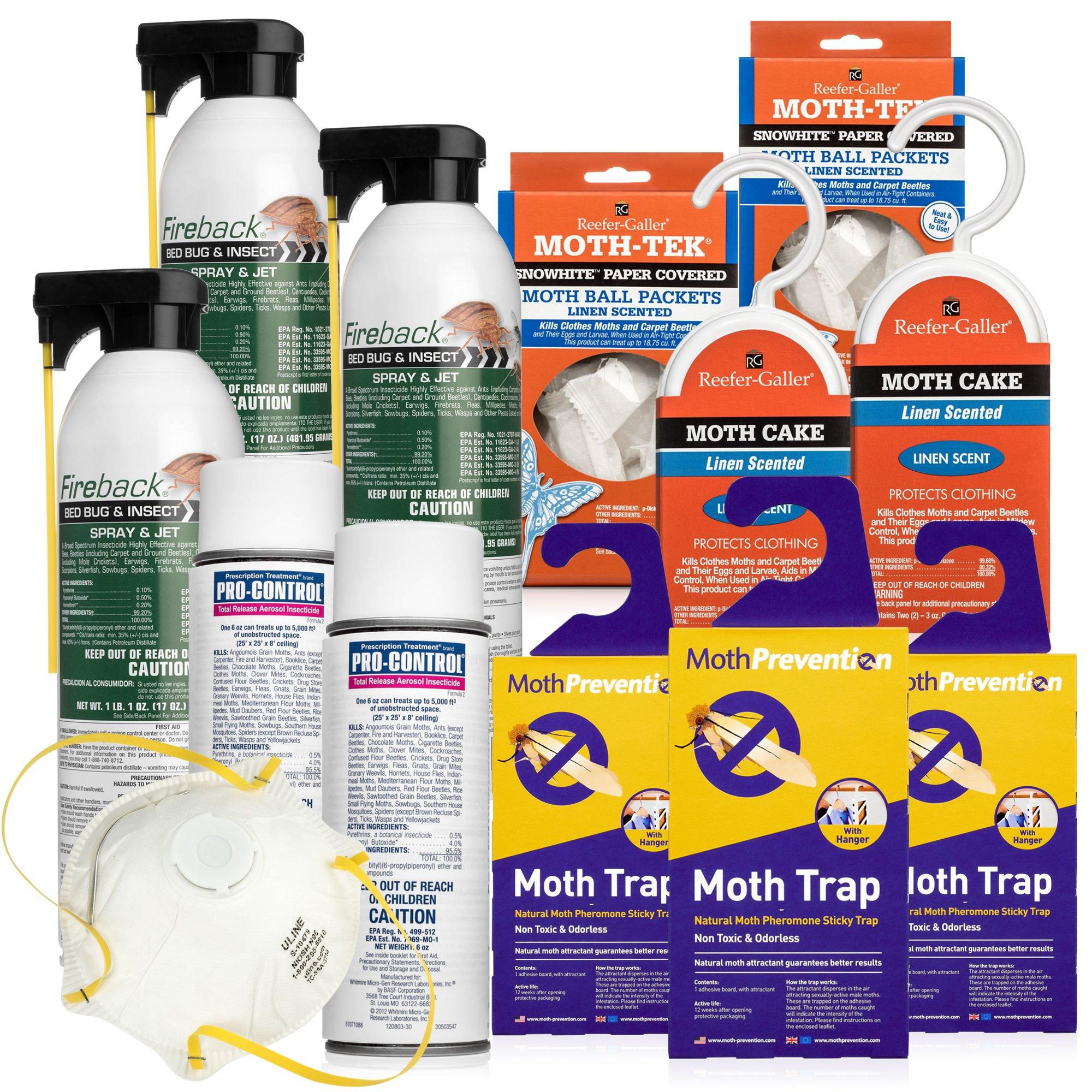 MOTH KILLER KIT for Clothes Moths by Moth-Prevention - Large Infestation