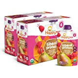 Happy Tot Organic Fiber & Protein Pouch Stage 4 Pears Raspberries Butternut Squash & Carrots, 4 Ounce Pouch (Pack of 16…