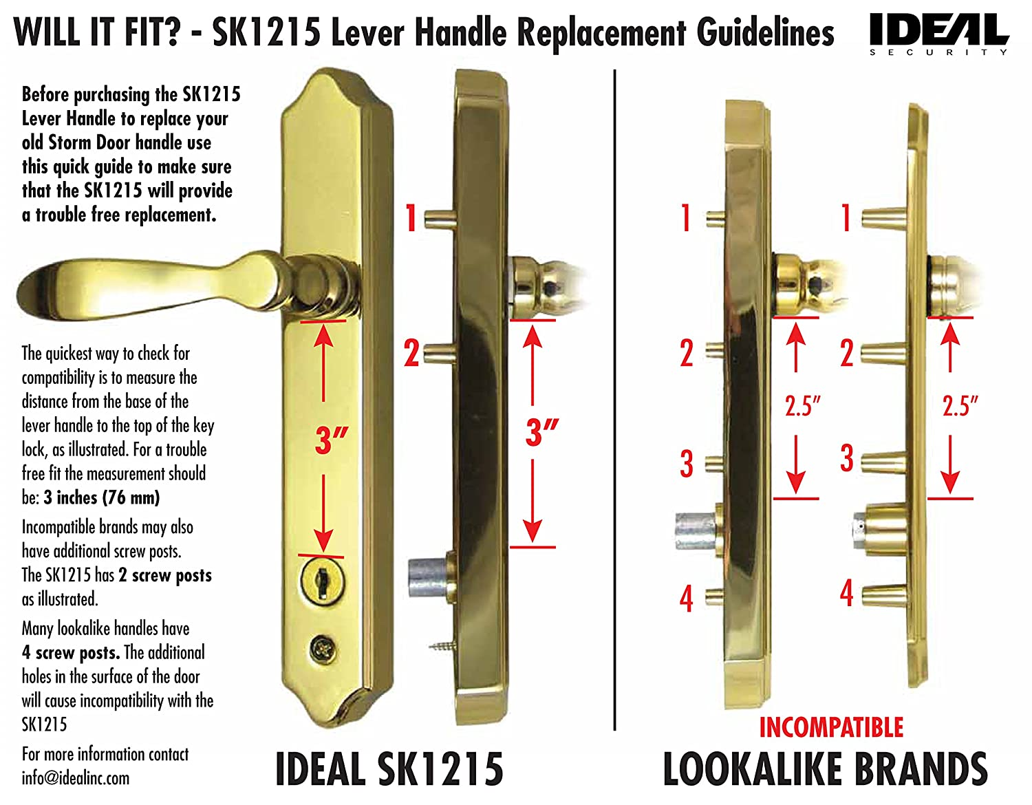 ideal security inc sk1215bb deluxe storm door handle set with deadbolt brass ecoat amazoncom