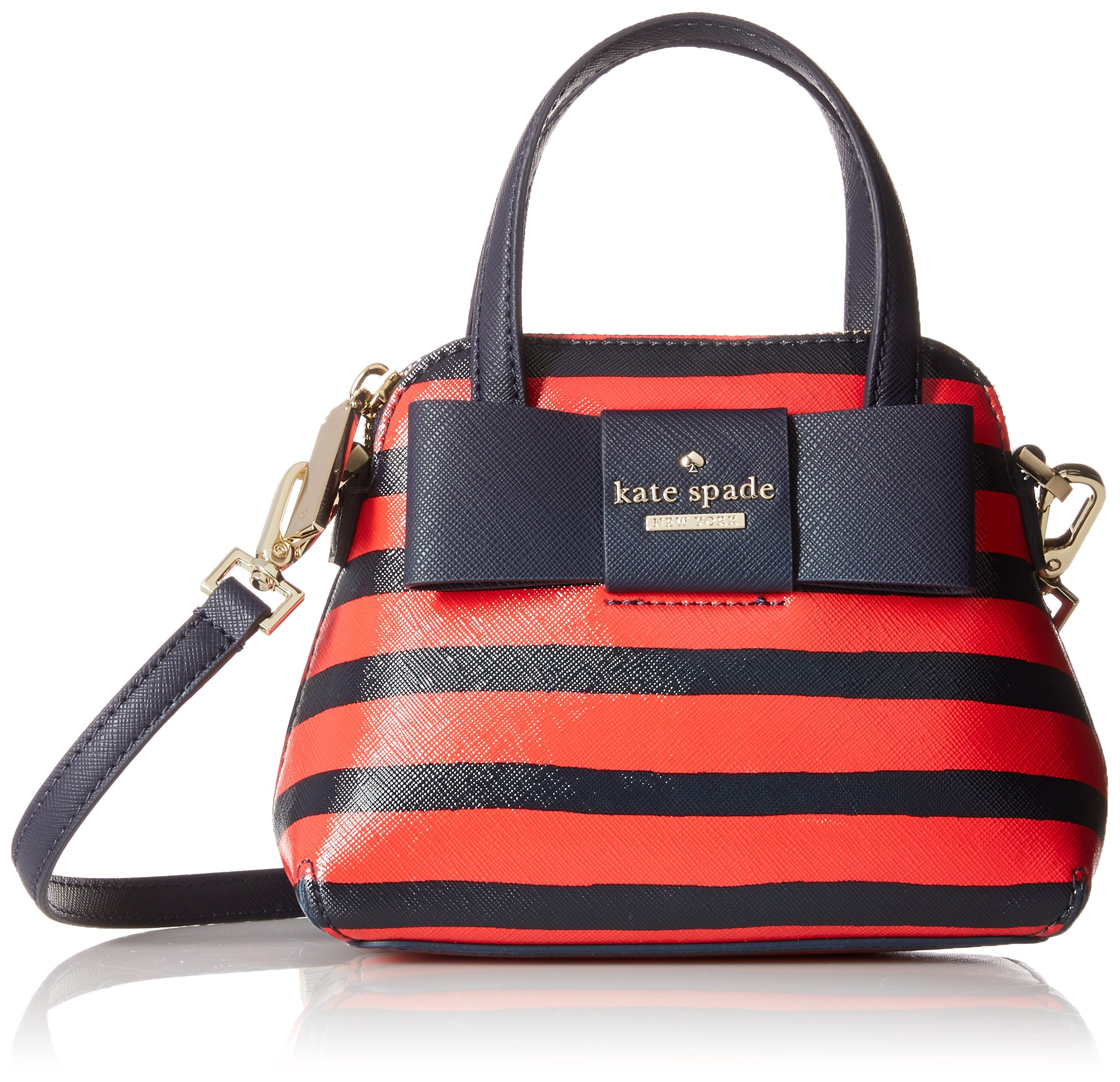 kate spade new york Julia Street Stripe Mini Maise Cross Body Bag, Rich Navy/Cherry Liqueur, One Size by Kate Spade New York