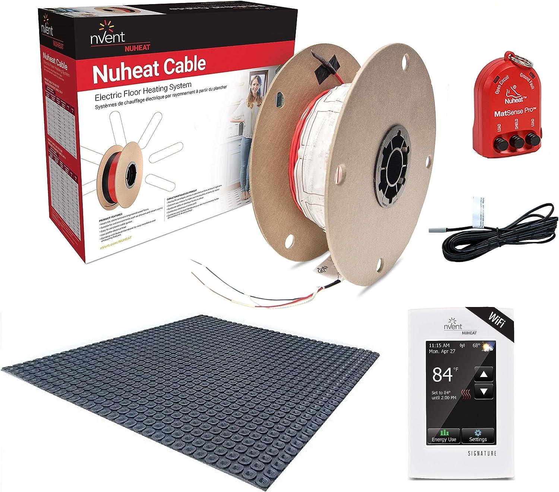 NuHeat N2C240-S-KIT 240 sq ft Signature Comfort Floor Heat Kit with Signature Thermostat, Heat Membrane, Heat Cable, MatSense Pro Fault Indicator…