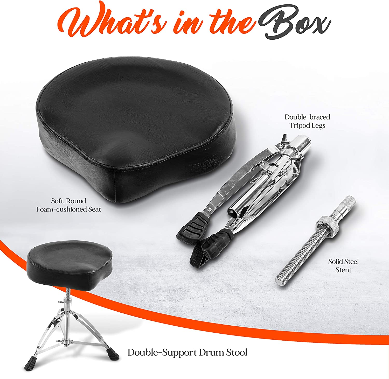 Perfect for On Stage and in-Studio Use PSEATDRM24 Soft /& Round Foam-Cushioned Seat Pyle Pro Throne Adjustable Support Drum Stool-Durable and Portable Double-braced Tripod Legs