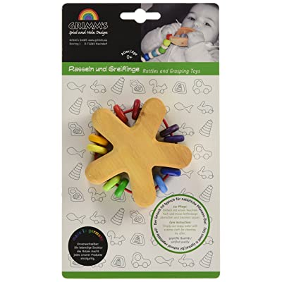 Grimm's Rattle Star - Natural Wooden Baby Grasper & Teething Toy with 10 Colorful Beads, Rainbow Colors by Grimm's Spiel und Holz Design: Bebé