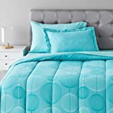 Amazon Basics 5-Piece Light-Weight Microfiber Bed-In-A-Bag Comforter Bedding Set - Twin/Twin XL, Industrial Teal