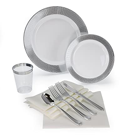 """ OCCASIONS"" 200 piece/ 25 guest Wedding Party, Heavyweight Disposable Dinnerware Set - Wedding Plastic Plates, linen like paper napkins, silver rim cups & Silverware (Diamond White/Silver)"