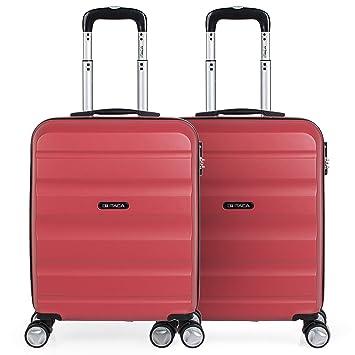 ITACA - Pack 2 Maletas de Viaje Rígidas 4 Ruedas 55x40x20 cm Cabina Trolley ABS.