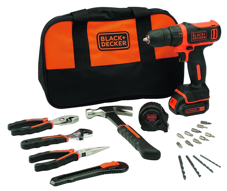 BLACK+DECKER BDCDD12HTSA-QW Perceuse visseuse sans fil - 12V max (= tension nominale de 10, 8V) - 1, 5 Ah - Lithium - 26 Nm - 1 batterie - Chargeur inclus - 14 accessoires et 6 outils à main - Livrée avec un sac de rangement - Comptacte et l&