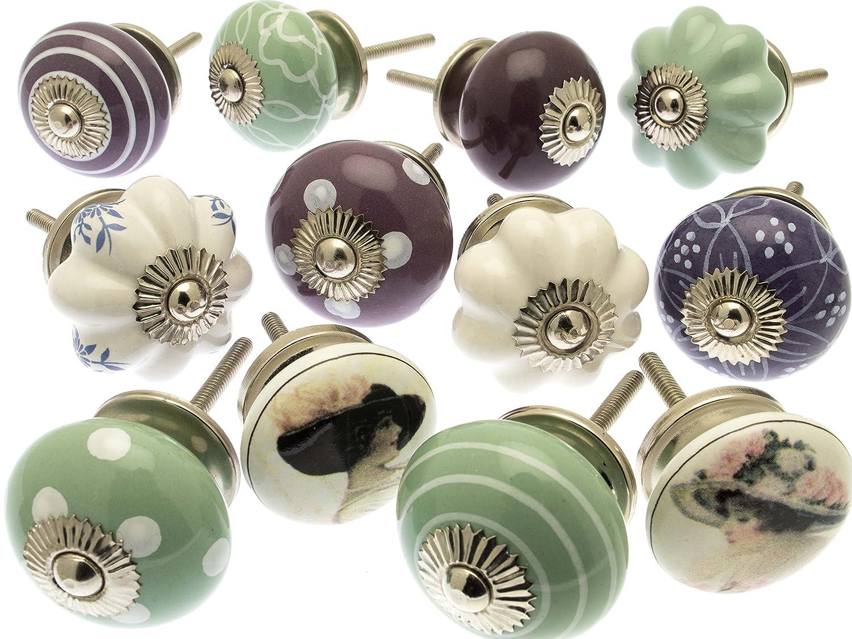 Vintage-Chic GEE-01 Lot de 12 boutons de tiroir vari/és en c/éramique