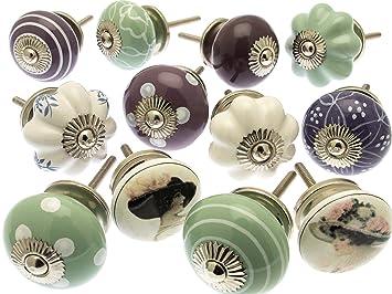Pomelli Per Credenza Vintage : St misto di pomelli in ceramica per cassetti e comodini stile