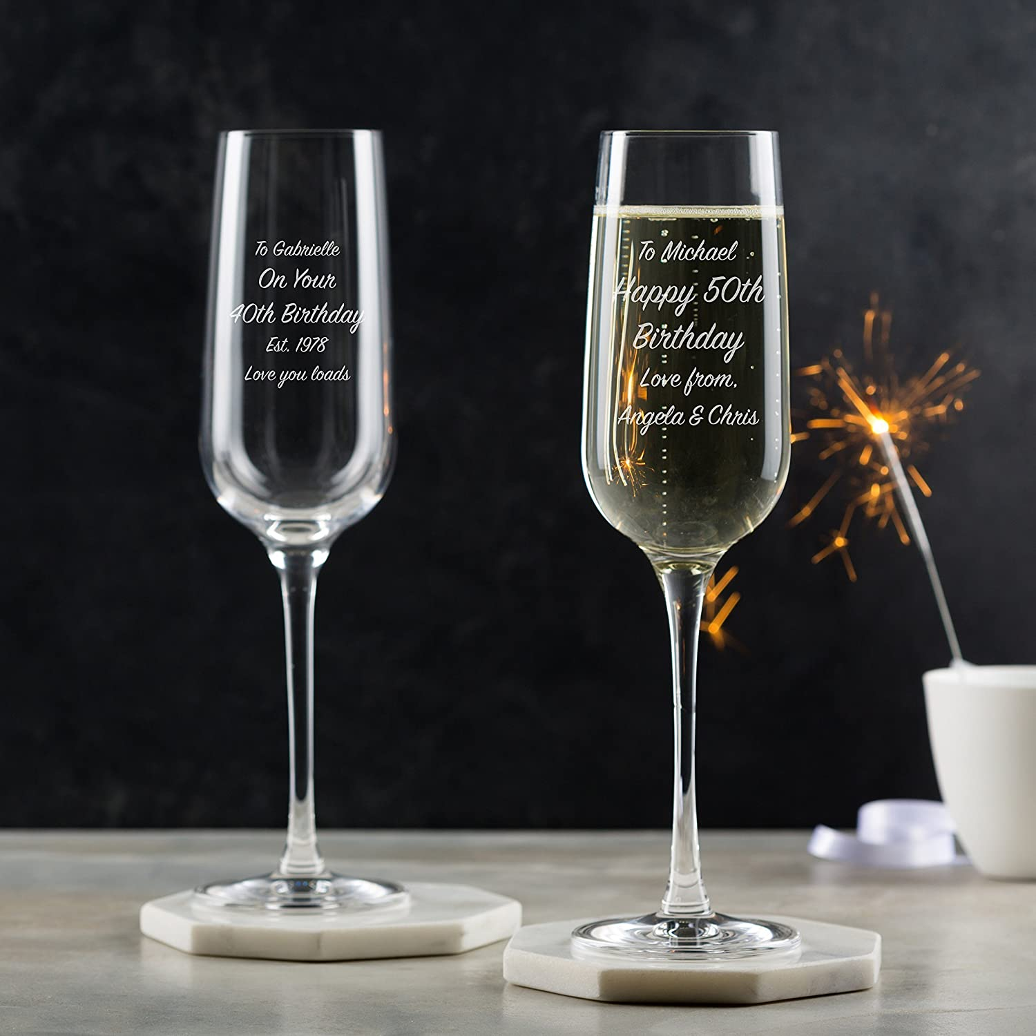 Personalised Champagne Flute/Personalised Prosecco Glass / 50th Birthday Champagne Glass / 40th Birthday Champagne Flute/Personalised Prosecco Gifts For Her