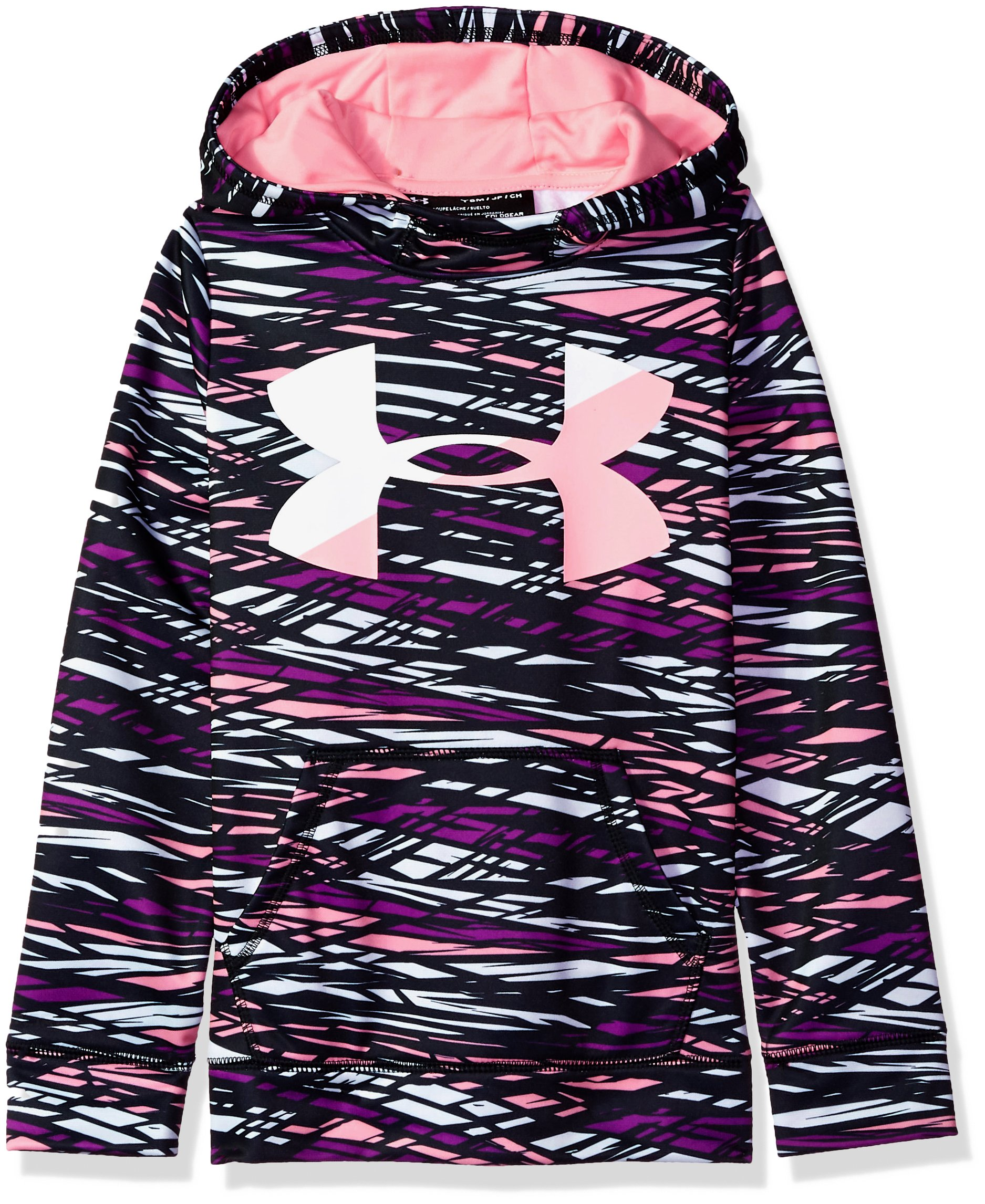Under Armour Girls' Armour Fleece Big Logo Novelty Hoodie,Purple Rave /Pop Pink, Youth X-Small