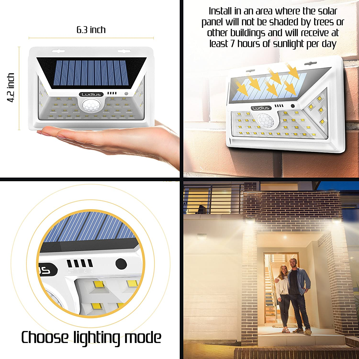 Ludius Solar Lights Outdoor Bright Outside 34 Leds Wide Lightings 6 Wiring Motion Sensor Home Design Inspiration Angle Light For Gardens Pathways Yard Landscape Or Porch