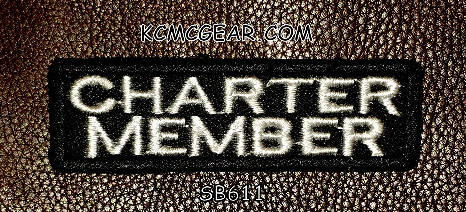 Black /& White CHARTER MEMBER 4 x 1 Heat Sealed Backing Rayon PATCH High Quality Iron-On // Saw-On