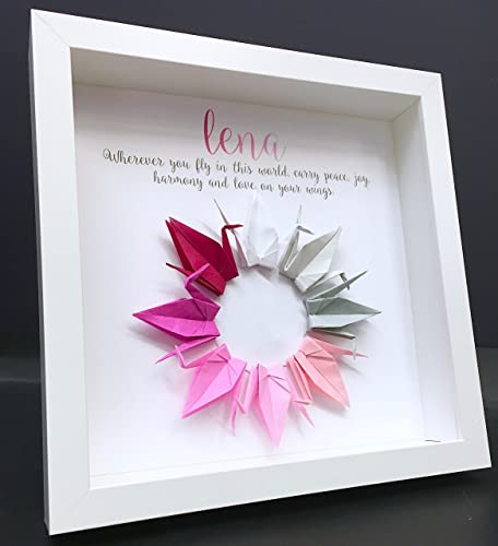 Amazon.com: Personalized Name Shadowbox Frame with Pink Paper ...