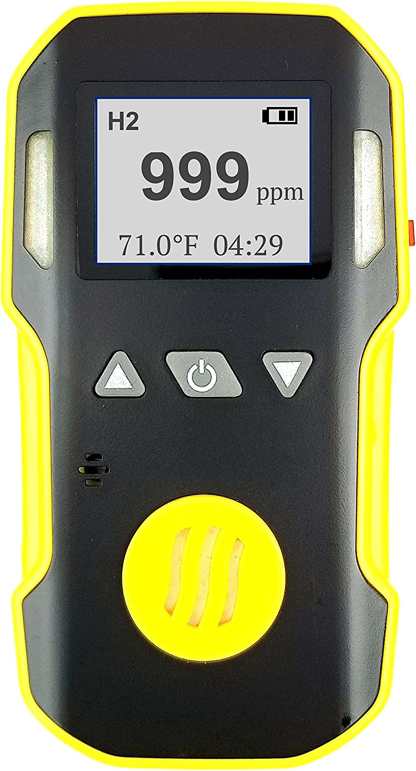 HYDROGEN Gas Detector, Meter & Analyzer by FORENSICS | Professional | Dust & Explosion Proof | USB Recharge | Sound, Light and Vibration Alarms | USA NIST Calibration | 0-1000 ppm |