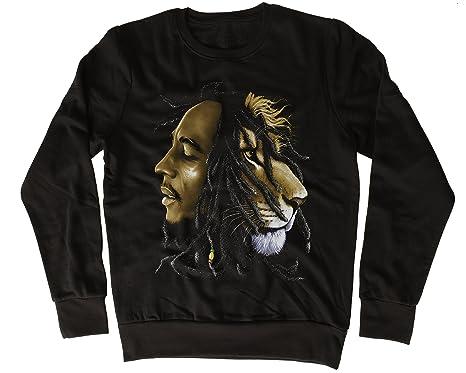 Bob Marley Lion Half Face Poster Fresca, Regalo, Diseñada, Sudadera Unisex: Amazon.es: Ropa y accesorios