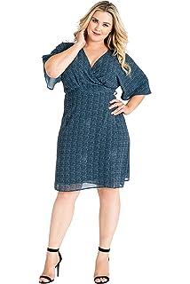 d691bf733b4 Standards   Practices Plus Size Modern Women s Snakeskin Kimono Wrap Midi Dress  Blue