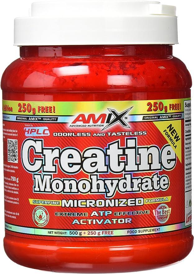 AMIX - Creatina Monohidratada - 500 Gramos + 250 Gramos - Complemento Alimenticio - Mejora el Rendimiento Físico - Ideal para Deportistas - 100% ...