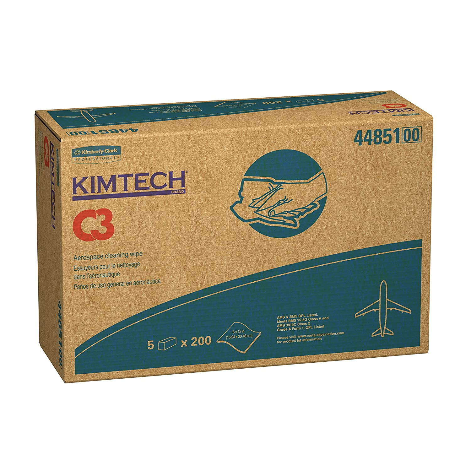 "Kimtech C3 Aviation Cleaning Wipes 44851 Surface Prep Wiping Cleaning Solutions Solvent Wipers 6 x 12"" White 1 000 Flat Sheets Case 5 Packs of 200"