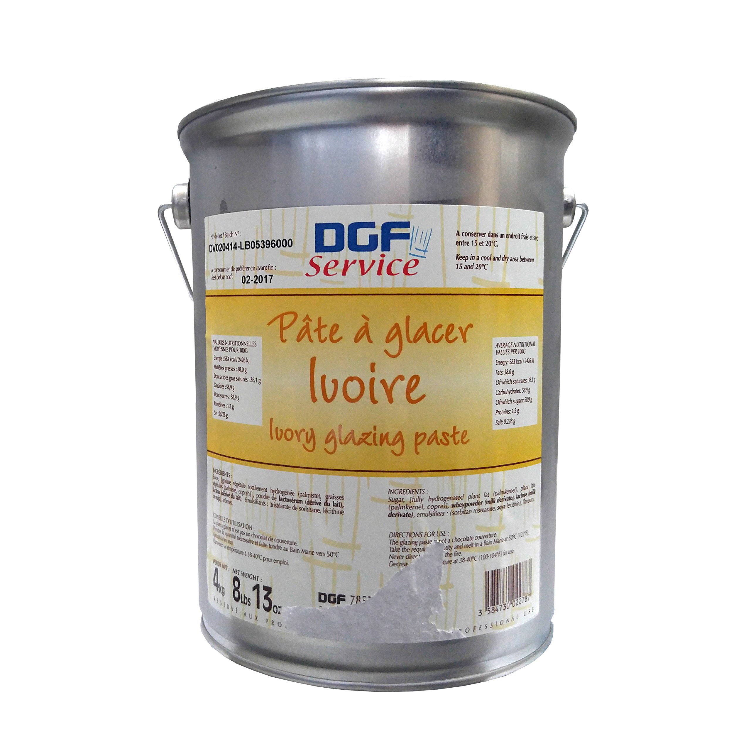 Pate A Glacer Ivoire, White Chocolate Glazing Paste - 8.8 Lb Pail