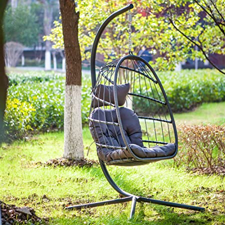 Amazon Com Egg Chair With Stand Indoor Outdoor Patio Wicker Hanging Chair Aluminum Frame Swing Chair Patio Egg Chair With Uv Resistant Dark Grey Cushion Garden Outdoor