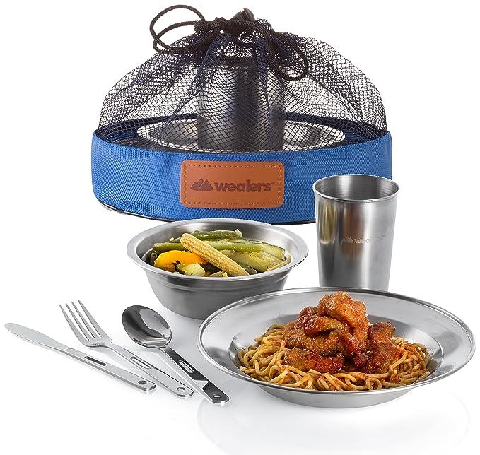 Amazon.com: Wealers - Juego de platos de acero inoxidable ...