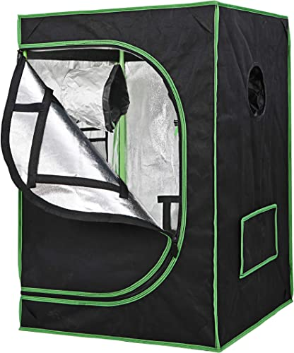JungleA 24 x 24 x 36 Mylar Hydroponic Growing Tents Grow Tent Kit with Observation Window and Floor Tray for Home Indoor Gardening Plant Growing