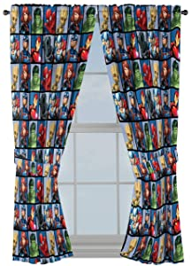 "Jay Franco Marvel Avengers Team 63"" inch Drapes 4 Piece Set - Beautiful Room Décor & Easy Set up - Window Curtains Include 2 Panels & 2 Tiebacks (Official Marvel Product)"