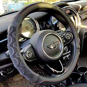 Wine Red Universal Flat Bottom 15 Inch PINCTROT D Shaped Steering Wheel Cover Great Grip with 3D Honeycomb Anti-Slip Design