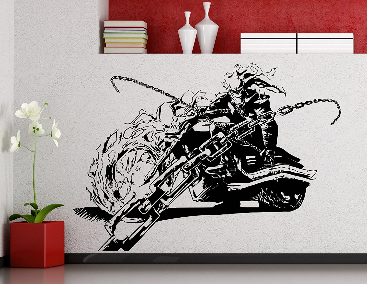 Ghost rider wall decal superhero sticker comics art home decoration any room waterproof sticker 243su amazon com